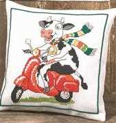Cow and Scooter Cushion - Permin Cross Stitch Kit