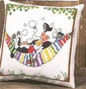 Permin Cow in Hammock Cushion Cross Stitch Kit
