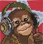 Chimp in Headphones - Permin Cross Stitch Kit