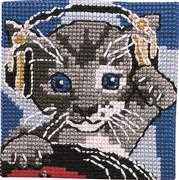Permin Cat in Headphones Cross Stitch Kit