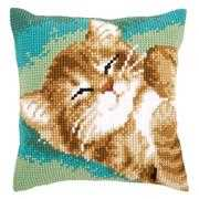 Sleepy Cat Cushion - Vervaco Cross Stitch Kit