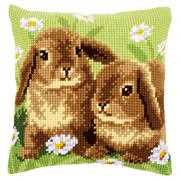 Two Rabbits Cushion - Vervaco Cross Stitch Kit