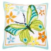 Green Butterfly Cushion - Vervaco Cross Stitch Kit