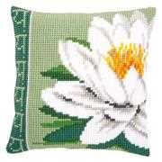 White Lotus Flower Cushion - Vervaco Cross Stitch Kit