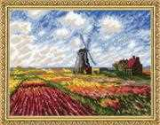 RIOLIS Tulip Fields (Monet) Cross Stitch Kit
