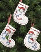 Permin Snowman Fun Tree Stockings Cross Stitch Kit