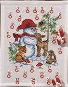Permin Forest Snowman Advent Christmas Cross Stitch Kit