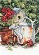 Watering Can & Birdhouse - Lanarte Cross Stitch Kit