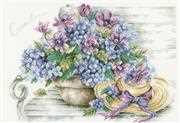 Lanarte Hydrangea on a Bench Cross Stitch Kit