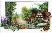 Needleart World English Cottage Stream No Count Cross Stitch Kit