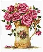 Needleart World Antique Flower Vase No Count Cross Stitch Kit