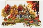 Needleart World Autumn Cottage No Count Cross Stitch Kit