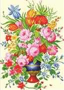 Elegant Floral Arrangement - Needleart World No Count Cross Stitch Kit
