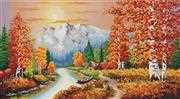Needleart World A Flaming Sunset No Count Cross Stitch Kit