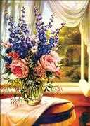 Floral Vase by the Window - Needleart World No Count Cross Stitch Kit