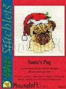 Santa's Pug - Mouseloft Cross Stitch Card Design
