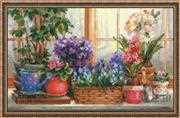 Windowsill with Flowers - RIOLIS Cross Stitch Kit