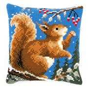 Squirrel in Winter Cushion - Vervaco Cross Stitch Kit