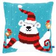 Vervaco Happy Christmas Bear Cushion Cross Stitch Kit