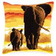 Elephants Cushion - Vervaco Cross Stitch Kit