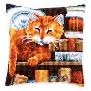 Cat and Books Cushion - Vervaco Cross Stitch Kit