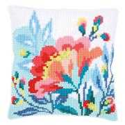 Bright Flowers Cushion - Vervaco Cross Stitch Kit