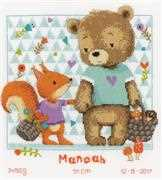 Vervaco Bear and Squirrel Sampler Birth Sampler Cross Stitch Kit