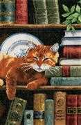 Vervaco Cat on Bookshelf Cross Stitch Kit
