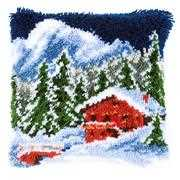 Winter Mountains Cushion - Vervaco Latch Hook Kit