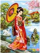 Geisha Garden - Grafitec Tapestry Canvas