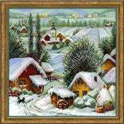 RIOLIS Wintery Serbian Village Christmas Cross Stitch Kit