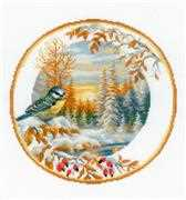 RIOLIS Plate with Bluetit Christmas Cross Stitch Kit