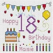 Eighteenth Birthday Card - Fat Cat Cross Stitch Kit