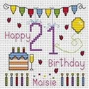 Twenty First Birthday Card - Fat Cat Cross Stitch Kit