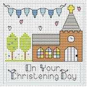 Christening Day Boy Card - Fat Cat Cross Stitch Kit