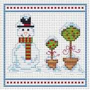 Snowman Topiary Blue Card - Fat Cat Cross Stitch Card Design