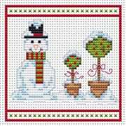 Snowman Topiary Red Card - Fat Cat Cross Stitch Card Design