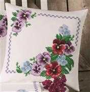 Pansy Cushion - Permin Cross Stitch Kit