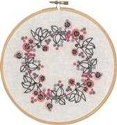 Pink Floral - Permin Embroidery Kit