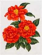 Red Zinnias - Grafitec Tapestry Canvas