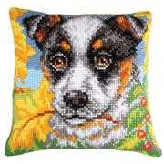 Dog & Autumn Leaves - Collection D'Art Cross Stitch Kit