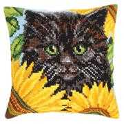 Collection D'Art Black Cat & Sunflowers Cross Stitch Kit