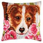 Collection D'Art Dog & Pink Poppies Cross Stitch Kit