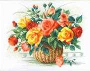 RIOLIS Basket with Roses Cross Stitch Kit
