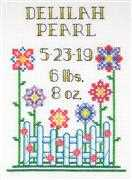 Janlynn Sunny Days Sampler Birth Sampler Cross Stitch Kit