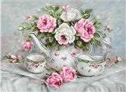 Luca-S English Tea & Roses on Aida Cross Stitch Kit
