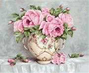 Luca-S Pink Roses on Aida Cross Stitch Kit
