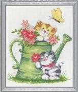 Watering Can Cats - Design Works Crafts Cross Stitch Kit