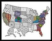 Design Works Crafts Zenbroidery - USA Map Embroidery Fabric