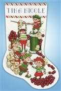 Popcorn Elves Stocking - Design Works Crafts Cross Stitch Kit